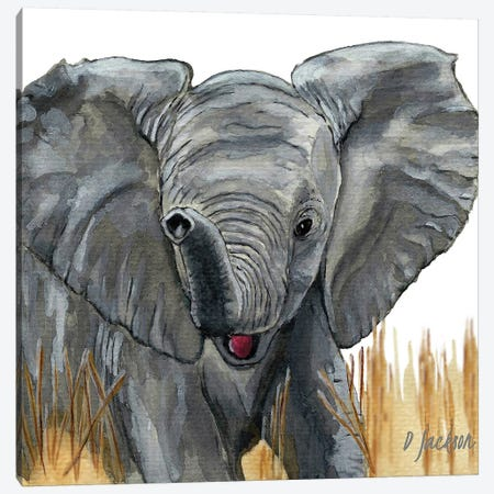 Baby Elephant Canvas Print #DJA42} by Dawn Jackson Canvas Artwork