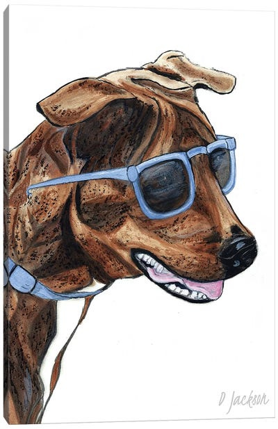 Brindle Dog In Sunglasses Canvas Art Print