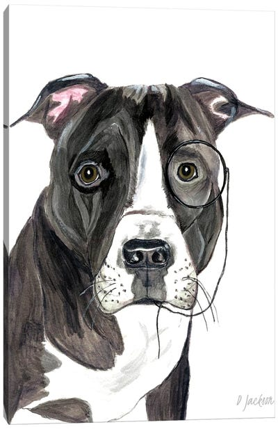 Black And White Pitbull With Monacle Canvas Art Print