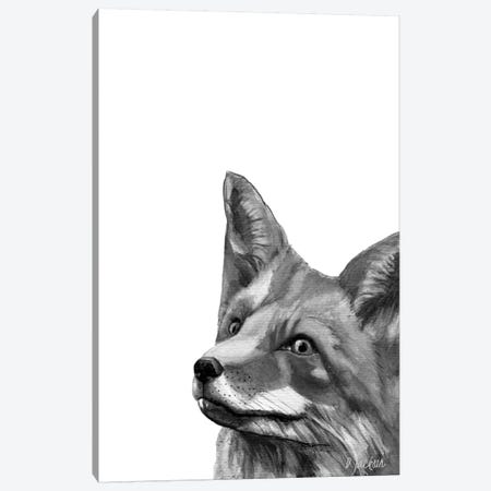 Black And White Fox Canvas Print #DJA6} by Dawn Jackson Canvas Art