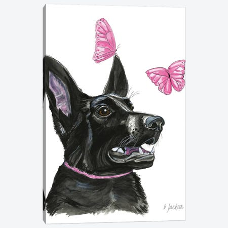 Black Dog With Butterflies Canvas Print #DJA7} by Dawn Jackson Canvas Artwork