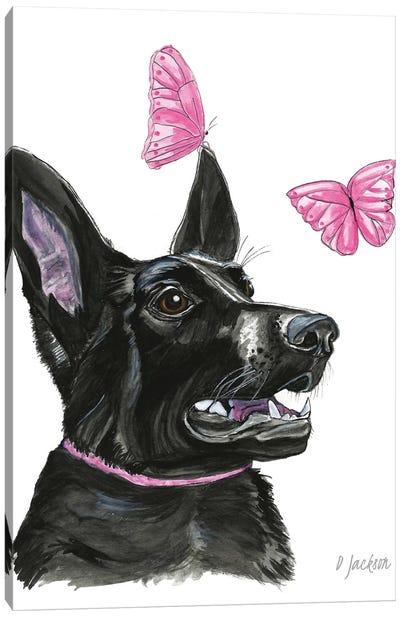Black Dog With Butterflies Canvas Art Print