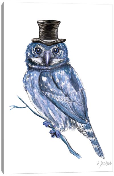 Blue Owl In Top Hat Canvas Art Print
