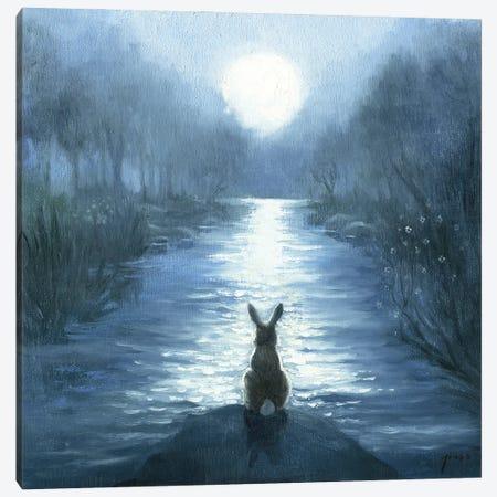 Isabella And Her Moon Canvas Print #DJQ10} by David Joaquin Art Print
