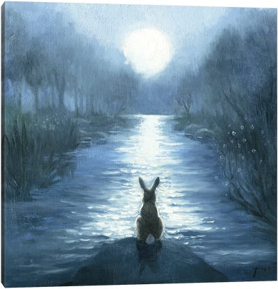 Isabella And Her Moon Canvas Art Print