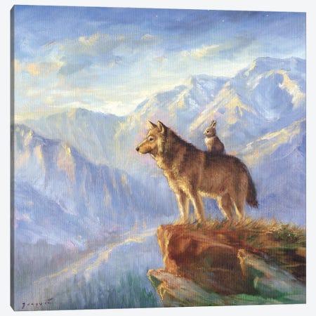 Isabella And The Wolf Canvas Print #DJQ11} by David Joaquin Canvas Art Print