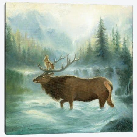 Isabella And The Elk Canvas Print #DJQ13} by David Joaquin Art Print