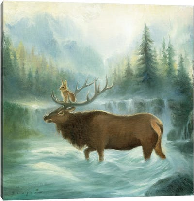 Isabella And The Elk Canvas Art Print