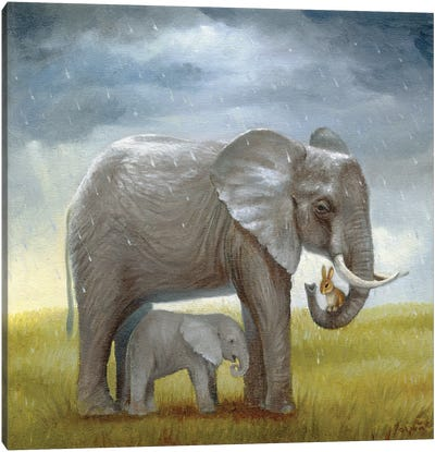 Isabella And The Elephant Canvas Art Print