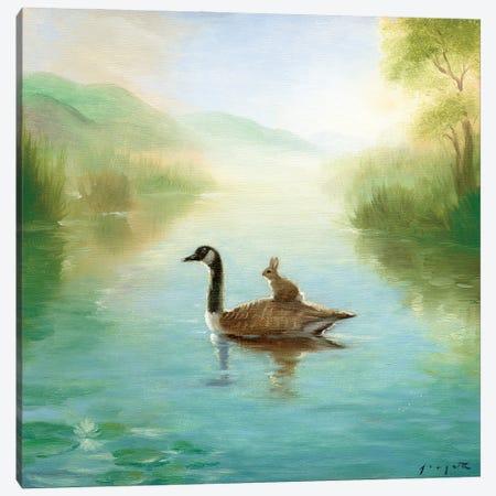 Isabella And The Goose Canvas Print #DJQ15} by David Joaquin Canvas Artwork