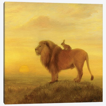Isabella And The Lion Canvas Print #DJQ16} by David Joaquin Canvas Art