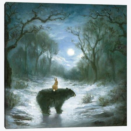 Isabella And The Bear Canvas Print #DJQ1} by David Joaquin Canvas Art