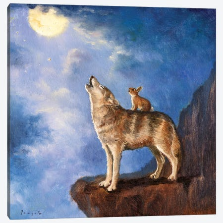 Isabella Sings With The Wolf Canvas Print #DJQ23} by David Joaquin Canvas Wall Art