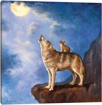 Isabella Sings With The Wolf Canvas Art Print