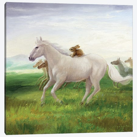 Isabella And The Herd Canvas Print #DJQ25} by David Joaquin Canvas Print