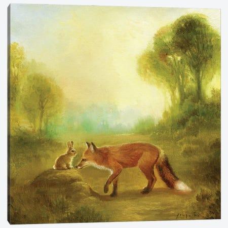 Isabella And The Fox Canvas Print #DJQ28} by David Joaquin Canvas Wall Art