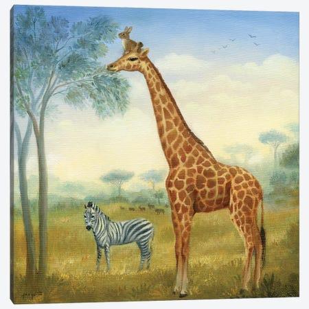 Isabella And The Giraffe Canvas Print #DJQ29} by David Joaquin Canvas Wall Art
