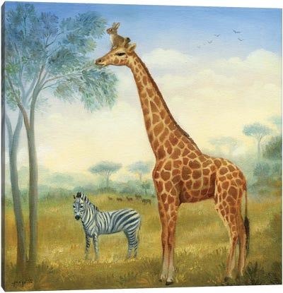 Isabella And The Giraffe Canvas Art Print