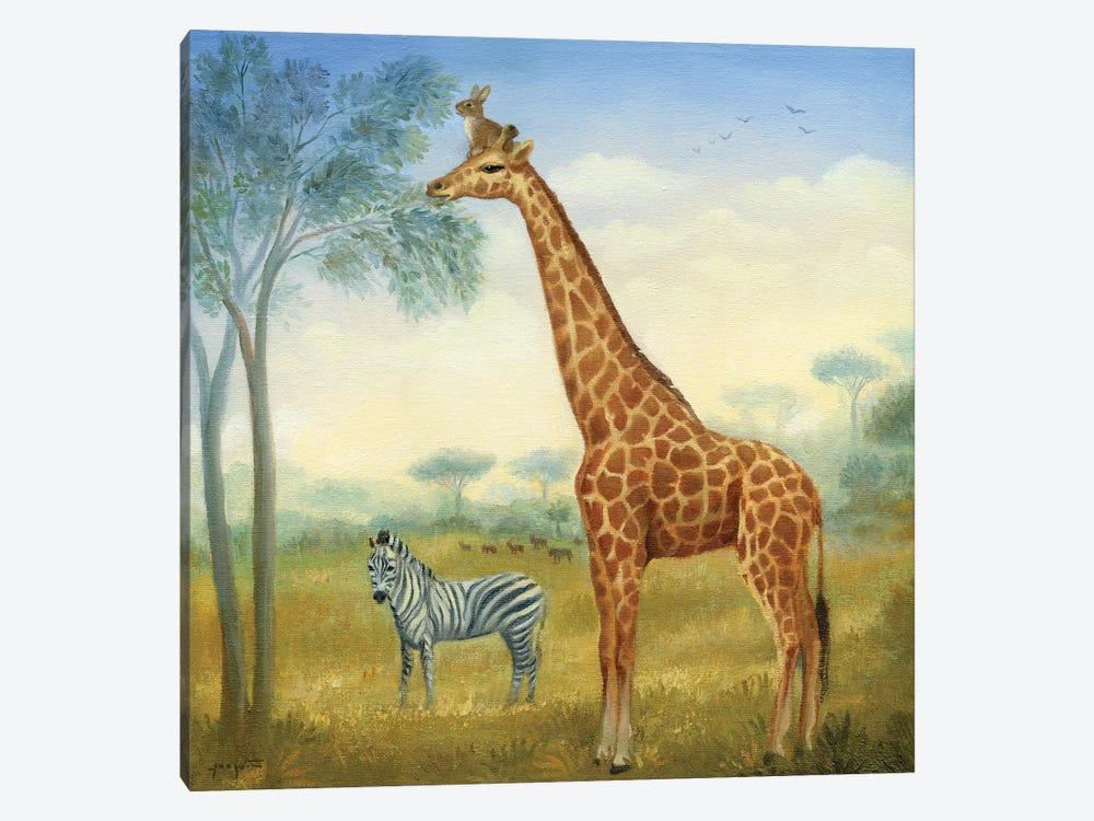 Isabella And The Giraffe by David Joaquin 1-piece Art Print