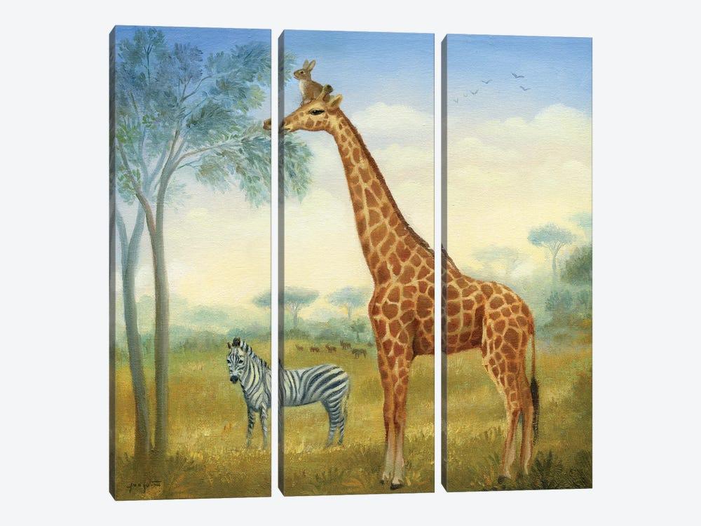 Isabella And The Giraffe by David Joaquin 3-piece Canvas Print