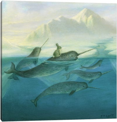 Isabella And The Narwhals Canvas Art Print