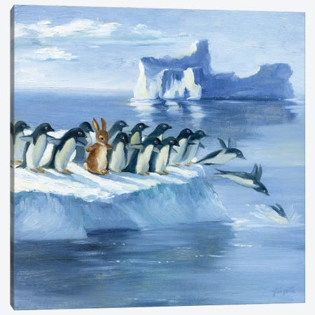 Isabella And The Penguins Canvas Print #DJQ33} by David Joaquin Art Print