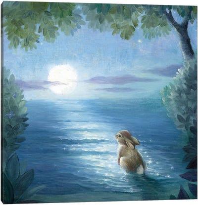Isabella And The Moon Canvas Art Print