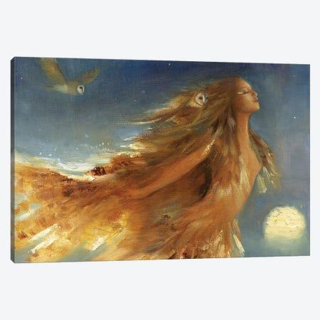 Owl Woman Canvas Print #DJQ41} by David Joaquin Canvas Wall Art