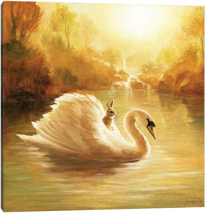 Isabella And The Swan Canvas Art Print