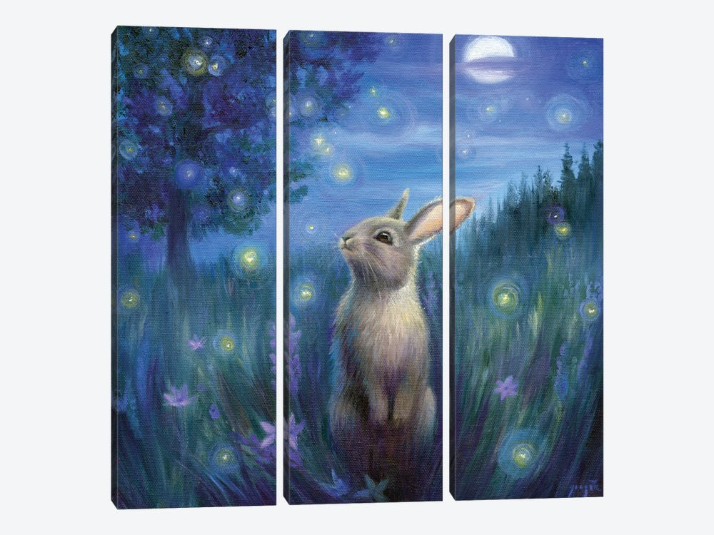 Isabella And The Fireflies by David Joaquin 3-piece Art Print