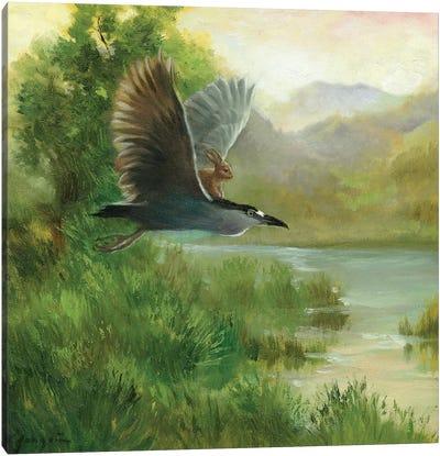 Isabella And The Heron Canvas Art Print
