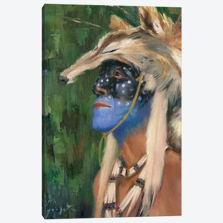 Mica Blue Coyote Canvas Print #DJQ90} by David Joaquin Art Print