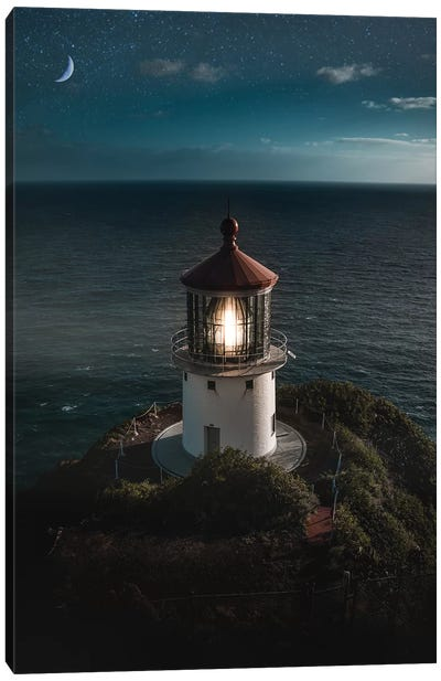 Lighthouse Night Canvas Art Print