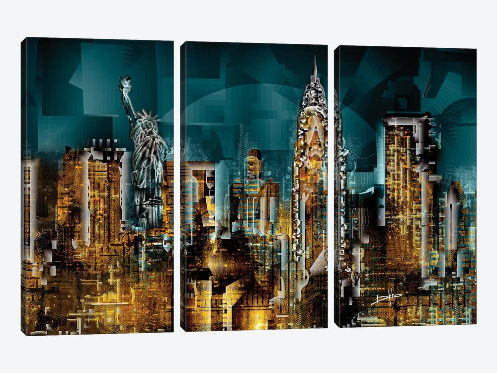 New York I by Darkko 3-piece Canvas Art Print
