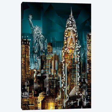 New York II 3-Piece Canvas #DKK14} by Darkko Art Print