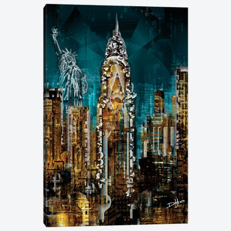 New York III 3-Piece Canvas #DKK15} by Darkko Canvas Print