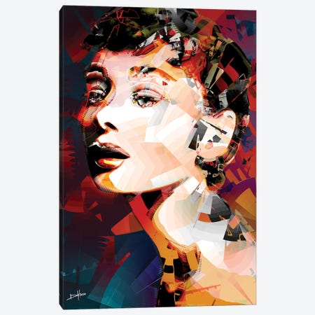 Audrey Hepburn Canvas Print #DKK1} by Darkko Canvas Wall Art