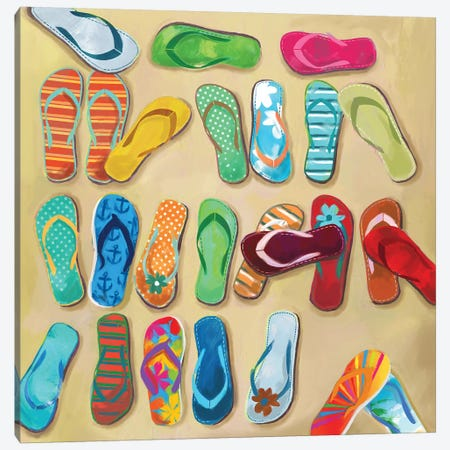 Flip Flops I Canvas Print #DKO12} by Drako Fontaine Canvas Wall Art
