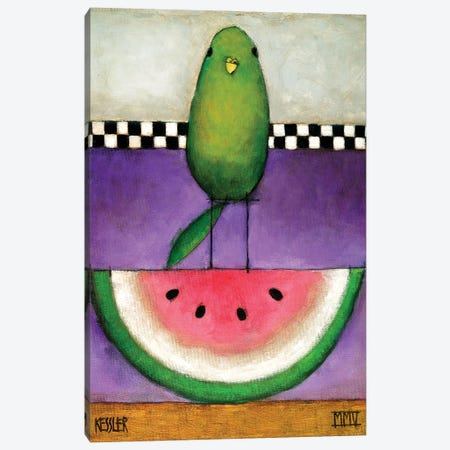 Watermelon Bird Canvas Print #DKS22} by Daniel Patrick Kessler Art Print