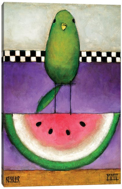 Watermelon Bird Canvas Art Print