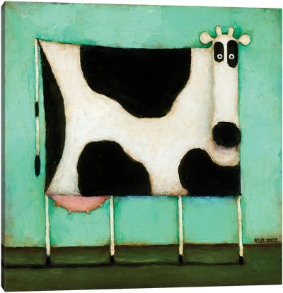 Turquoise Cow Canvas Art Print