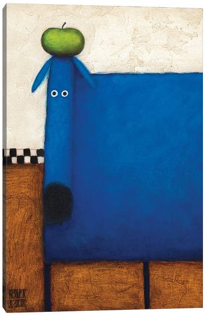 Blue Dog With Apple Canvas Art Print