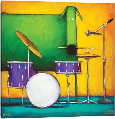 Drum Dog Canvas Art Print