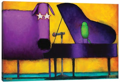 Piano Glam Dog Canvas Art Print