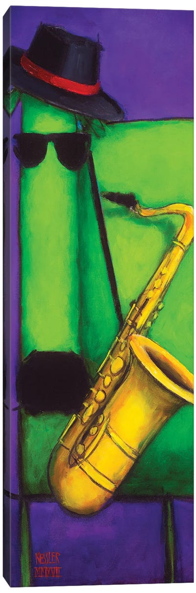 Sax Dog Canvas Art Print