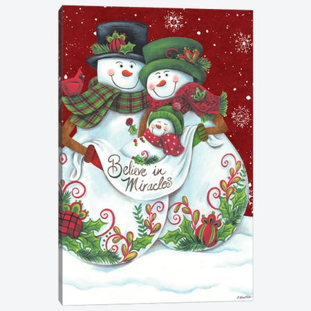 Snowman Parents with Baby Canvas Print #DKT13} by Diane Kater Canvas Print