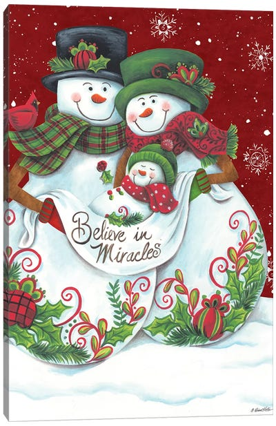 Snowman Parents with Baby Canvas Art Print