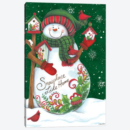 Snowman with Birdhouses Canvas Print #DKT14} by Diane Kater Canvas Artwork