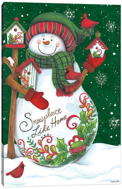 Snowman with Birdhouses Canvas Art Print