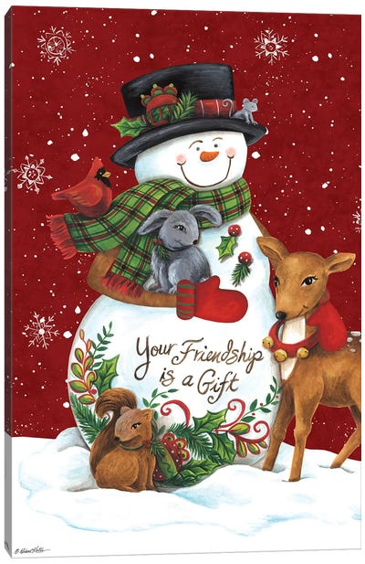 Snowman with Deer Canvas Art Print